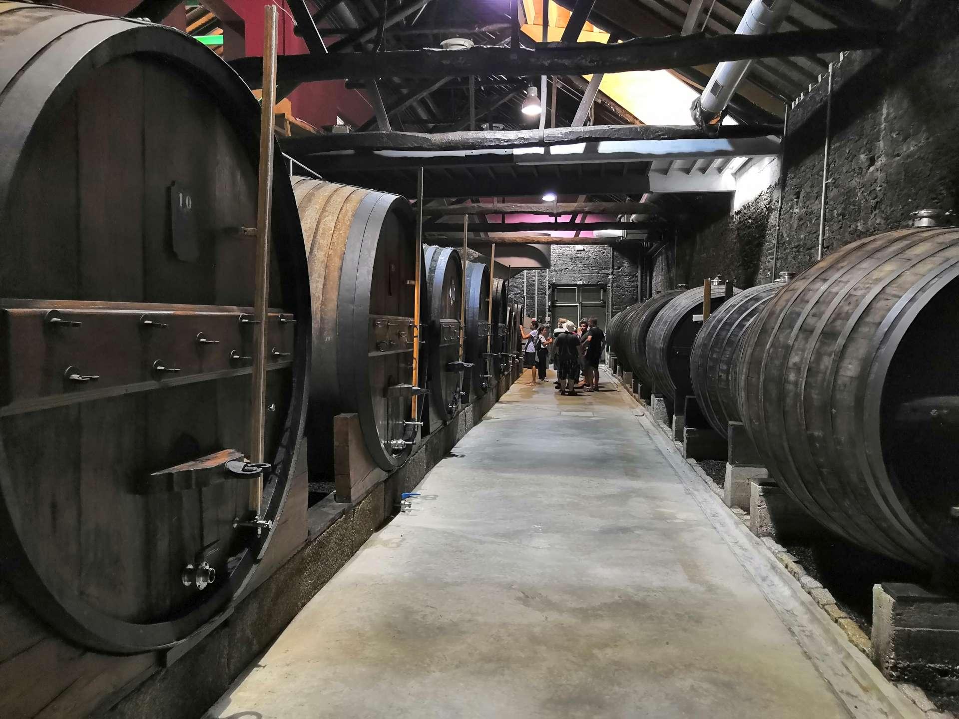 Součástí výroby portského vína je i skladování a zrání. Ulička mezi sudy toneis.