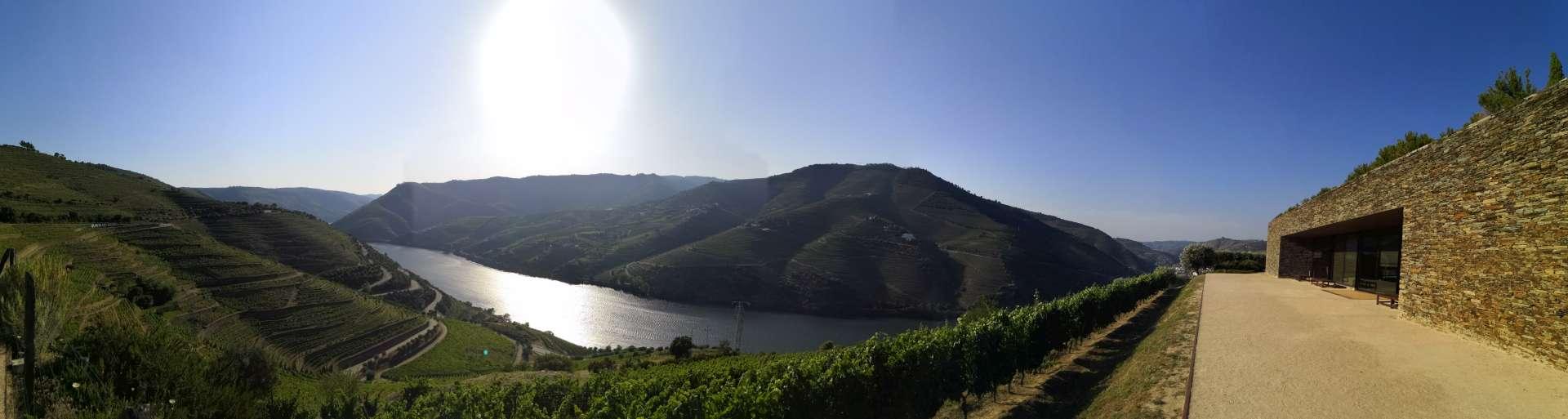 House of Sandeman disponuje širokou terasou s výhledem na okolní kopce s vinicemi a samozřejmě řekou Douro.